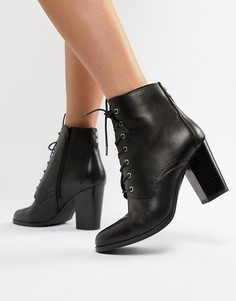 Кожаные ботинки на каблуке со шнуровкой ALDO - Черный