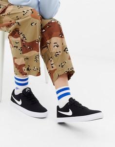 Черно-белые парусиновые кроссовки в клетку Nike Sb Solar - Черный