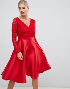 Платье для выпускного с кружевными рукавами City Goddess - Черный