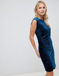 Бархатное платье с присборенной драпировкой Y.A.S Velvur - Темно-синий