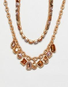 Ожерелья-цепочки со стразами Stradivarius - Золотой