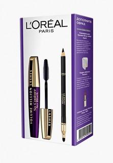 """Набор для макияжа глаз LOreal Paris LOreal Тушь для ресниц """"Объем миллиона ресниц От Кутюр"""", 9,5 мл и карандаш для глаз """"Color Riche"""" Le Smoky, оттенок 201, Итальянский эспрессо"""