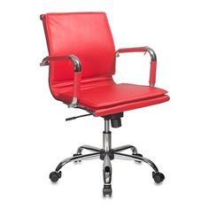 Кресло руководителя БЮРОКРАТ Ch-993-Low, на колесиках, искусственная кожа, красный [ch-993-low/red]