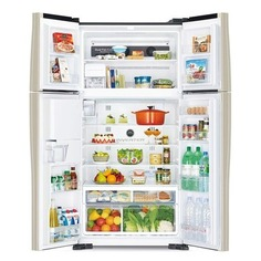 Холодильник HITACHI R-W 722 PU1 GBW, двухкамерный, коричневое стекло