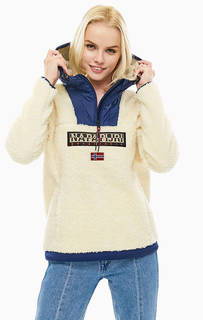Куртка-анорак молочного цвета с нашивками Napapijri