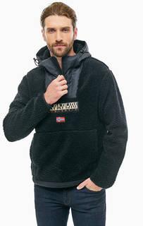 Куртка-анорак черного цвета с нашивками Napapijri