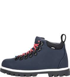 Демисезонные ботинки синего цвета на шнуровке Native