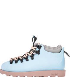Голубые резиновые ботинки с дополнительными шнурками Native