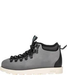 Серые резиновые ботинки с дополнительными шнурками Native