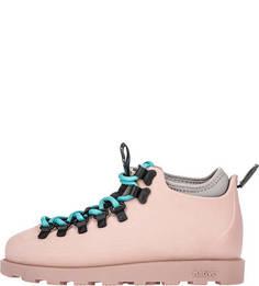 Резиновые ботинки кораллового цвета с дополнительными шнурками Native