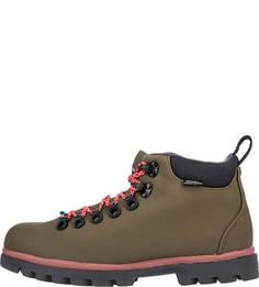 Демисезонные ботинки цвета хаки на шнуровке Native