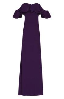 Платье-макси с открытыми плечами и оборкой Alexander McQueen