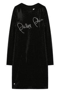 Платье из вискозы со стразами Philipp Plein
