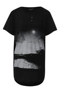Удлиненная хлопковая футболка с принтом Ann Demeulemeester