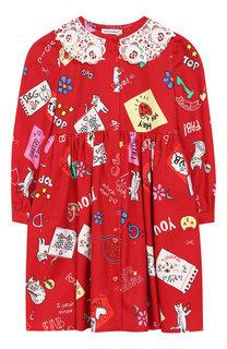 Хлопковое платье с кружевным воротником Dolce & Gabbana