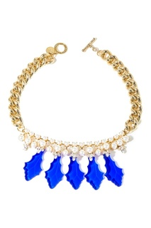 Золотистое ожерелье с синими лепестками Anton Heunis