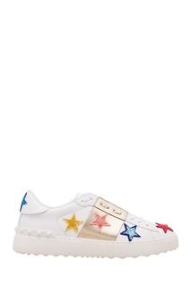 Белые кожаные кроссовки Valentino Garavani с нашивками