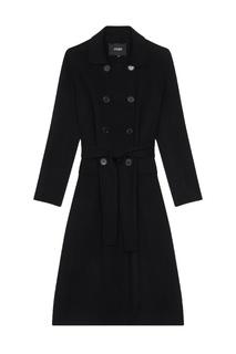 Черное двубортное пальто Maje