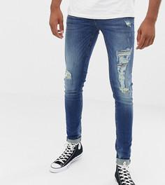Темные супероблегающие джинсы с рваной отделкой Blend Tall - Синий