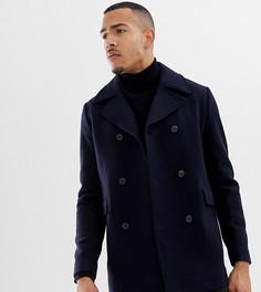Пальто из переработанной шерсти Selected Homme - Темно-синий