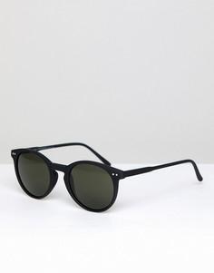 Черные круглые солнцезащитные очки Stradivarius - Серебряный