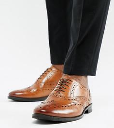 Светло-коричневые кожаные броги для широкой стопы ASOS DESIGN - Рыжий