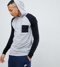 Удлиненный обтягивающий худи с контрастными рукавами реглан и нагрудным карманом ASOS DESIGN tall - Серый