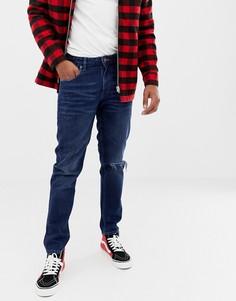 Темно-синие узкие потертые джинсы из денима плотностью 14 унций ASOS DESIGN - Синий
