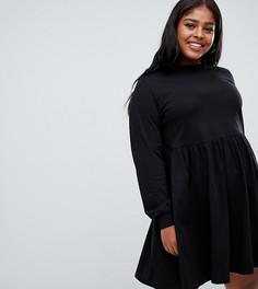 Свободное платье с длинными рукавами ASOS DESIGN Curve - Черный