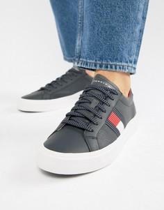 Темно-синие кожаные кроссовки с флагом Tommy Hilfiger - Темно-синий
