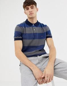Жаккардовая футболка-поло в полоску Tommy Hilfiger - Темно-синий