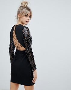Черное облегающее платье мини с пайетками и шнуровкой Boohoo - Черный