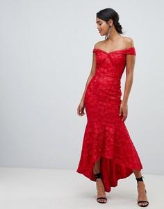 Красное платье-бандо макси с вышивкой Chi Chi London - Красный