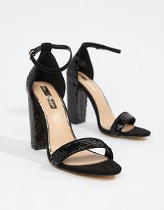 Черные босоножки с пайетками на блочном каблуке Miss Selfridge - Черный