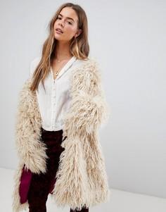 Меховое пальто Free People - Бежевый
