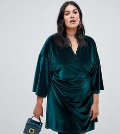 Бархатное зеленое платье мини с рукавами-кимоно Boohoo Plus - Зеленый