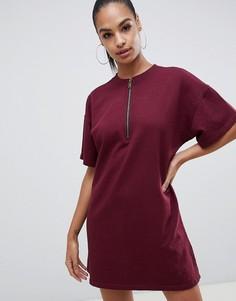 Бордовое свободное платье-футболка с молнией Missguided - Красный