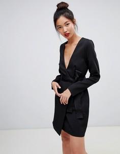 Платье с запахом и завязкой Daisy Street - Черный