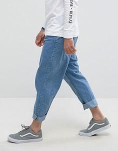 Синие выбеленные джинсы с широкими штанинами Bershka - Синий