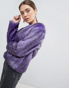 Фиолетовый полушубок без воротника из искусственного меха Unreal Fur - Фиолетовый