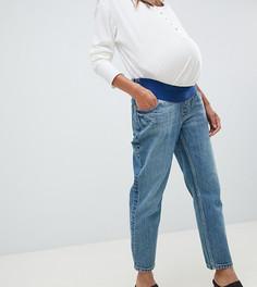 Выбеленные синие джинсы прямого кроя с посадкой под животом ASOS DESIGN Maternity Recycled Florence - Синий