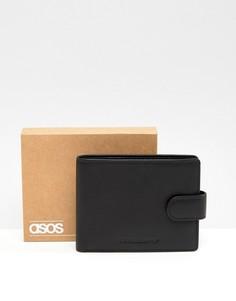 Черный кожаный бумажник с контрастной внутренней частью ASOS DESIGN - Черный