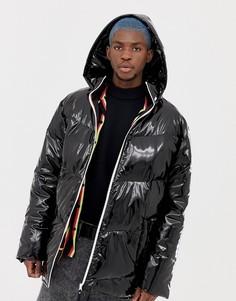 Блестящая дутая куртка с капюшоном COLLUSION - Черный
