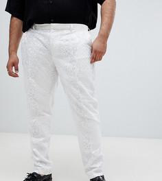 Белые атласные брюки под смокинг с кружевом и пайетками ASOS EDITION Plus - Белый