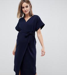 Платье миди с запахом ASOS DESIGN Maternity - Темно-синий
