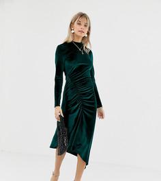 Бархатное платье миди со сборками у края Reclaimed Vintage Inspired - Зеленый