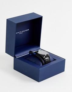 Подарочный набор из наручных часов и тканевого браслета Tommy Hilfiger - Серый