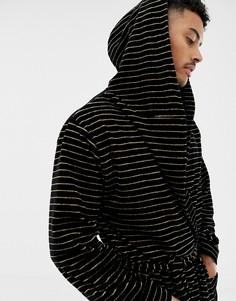 Черный халат с золотистыми полосками и капюшоном ASOS DESIGN - Черный