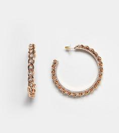 Золотистые серьги-кольца с цепочками ALDO Afaulia - Золотой