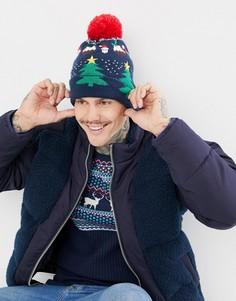 Шапка-бини с новогодней елкой Boardmans Jingle - Темно-синий